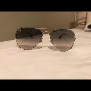 RayBan Aviators, Silver frame/gradient lens